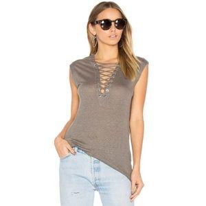 IRO Tissa Tank Blouse Linen Stone Grey Lace Up